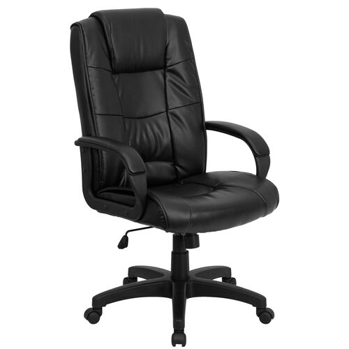 Our High Back Black Leather Executive Swivel Office Chair with Arms is on sale now.