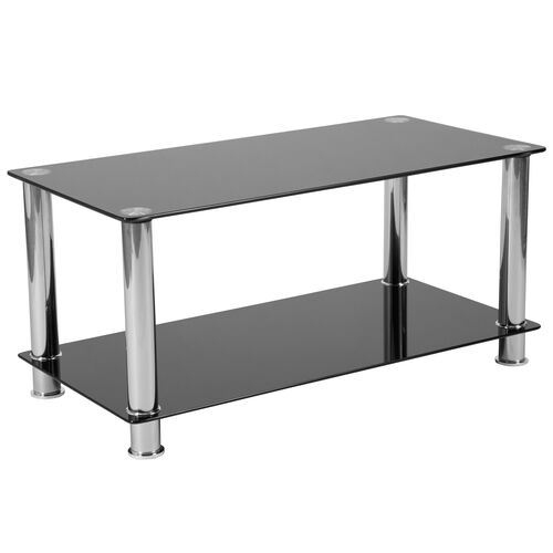 Our Riverside Collection Black Glass Coffee Table with Shelves and Stainless Steel Frame is on sale now.