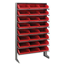 Sloped Shelving Single Sided Pick Rack Unit with 24 Bins - Red