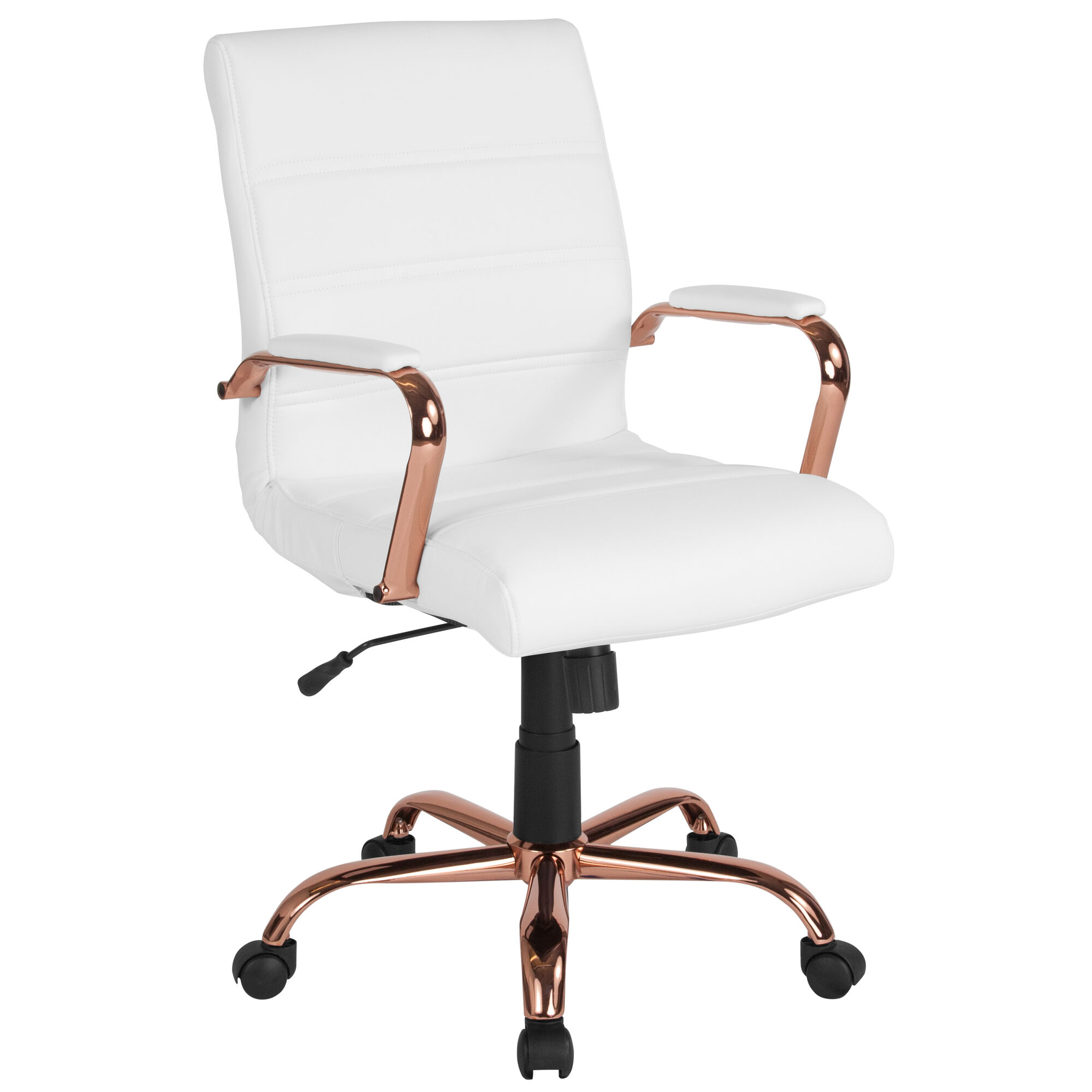 Awe Inspiring Mid Back White Leather Executive Swivel Office Chair With Rose Gold Frame And Arms Pdpeps Interior Chair Design Pdpepsorg