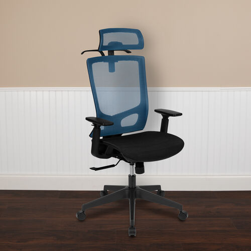 Ergonomic Mesh Office Chair with Synchro-Tilt, Pivot Adjustable Headrest, Lumbar Support, Coat Hanger and Adjustable Arms in Blue/Black
