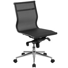 Mid-Back Transparent Black Mesh Executive Swivel Office Chair with Synchro-Tilt Mechanism