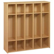 Eco ™ Preschool Size 5 Compartment Locker Unit with Double Hooks