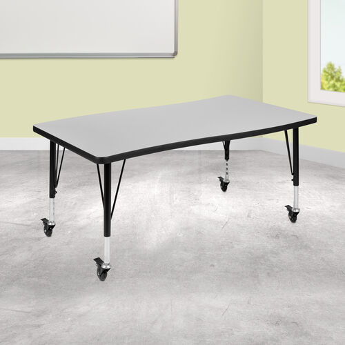 "Our Mobile 28""W x 47.5""L Rectangular Wave Collaborative Grey Thermal Laminate Activity Table - Height Adjustable Short Legs is on sale now."