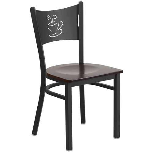 Our Black Coffee Back Metal Restaurant Chair with Walnut Wood Seat is on sale now.