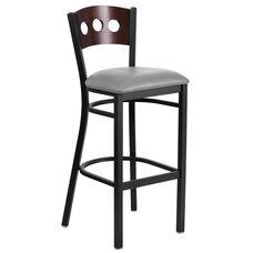 Black Decorative 3 Circle Back Metal Restaurant Barstool with Walnut Wood Back & Custom Upholstered Seat