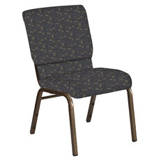 18.5''W Church Chair in Circuit Gray Fabric - Gold Vein Frame