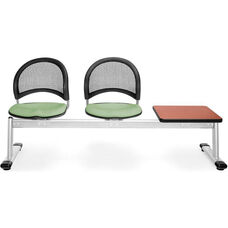 Moon 3-Beam Seating with 2 Sage Green Fabric Seats and 1 Table - Cherry Finish