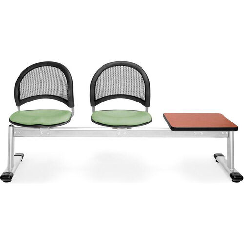 Our Moon 3-Beam Seating with 2 Sage Green Fabric Seats and 1 Table - Cherry Finish is on sale now.