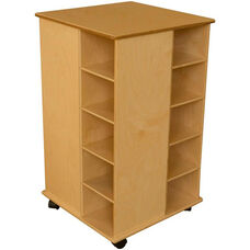 4-Sided Wooden Mobile Cubby Spinner with 20 Purple Plastic Trays - 22