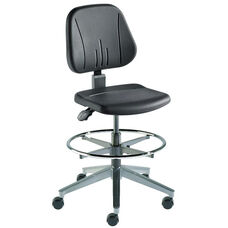 Quick Ship Unitec Series Chair with Black Self Skinned Urethane and Cast Aluminum Base - Medium Seat Height