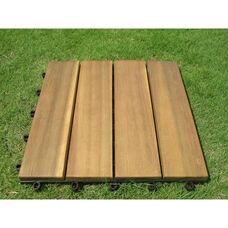 Outdoor Patio 4-Slat Acacia Interlocking Deck Tile - Set of 10