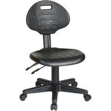 Work Smart Self-Skinned Urethane Ergonomic Armless Task Chair with Seat Height Adjustment and Casters - Black