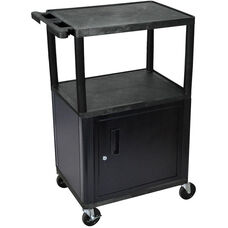 3 Shelf High Open A/V Utility Cart with Locking Cabinet - Black - 24