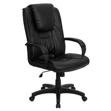 High Back Black Leather Executive Swivel Office Chair with Oversized Headrest and Arms