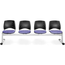 Stars 4-Beam Seating with 4 Fabric Seats - Lavender