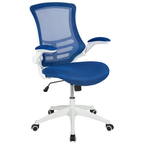 Our Mid-Back Blue Mesh Swivel Ergonomic Task Office Chair with White Frame and Flip-Up Arms is on sale now.