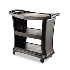 Rubbermaid® Commercial Executive Service Cart - Three-Shelf - 20-1/3w x 38-9/10d - Black
