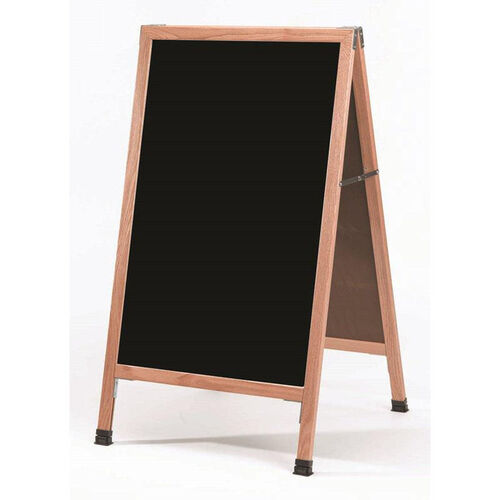 Our A-Frame Sidewalk Black Porcelain Marker Board with Solid Red Oak Frame - 42