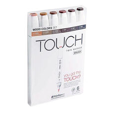 ShinHan Art TOUCH Twin Brush 6-Piece Wood Colors Marker Set