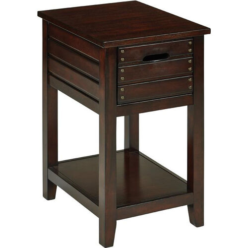 Our OSP Designs Camille Wood Side Table with Two Storage Compartments - Walnut is on sale now.