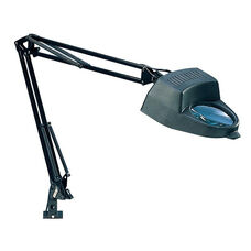 Height Adjustable Flexible Arm Magnifying Lamp with Clamp Mount - Black