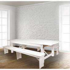 """HERCULES Series 9' x 40"""" Antique Rustic White Folding Farm Table and Two Bench Set"""