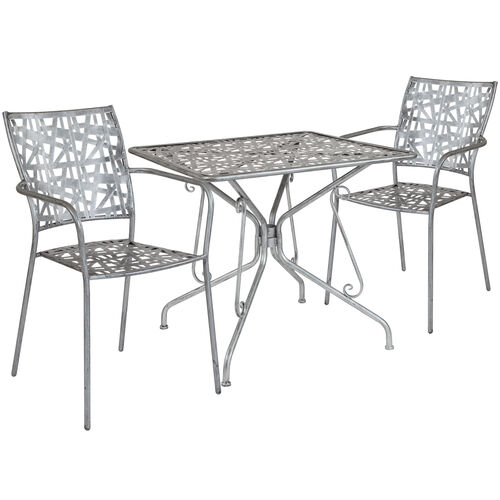 """Our Agostina Series 31.5"""" Square Antique Silver Indoor-Outdoor Steel Patio Table with 2 Stack Chairs is on sale now."""