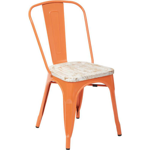 Our OSP Designs Bristow Metal Chair with Vintage Wood Seat - Set of 2 - Orange and Pine White is on sale now.