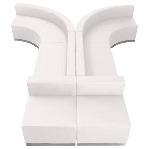 HERCULES Alon Series Melrose White LeatherSoft Reception Configuration, 8 Pieces