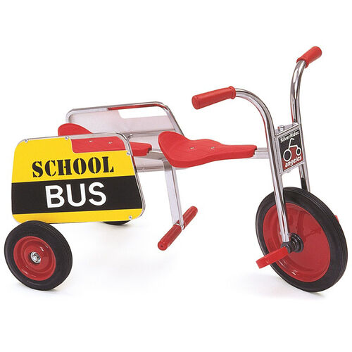 Our Silver Rider School Bus Trike with Spokeless Solid Rubber Wheels and Bus Sign - Red is on sale now.