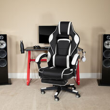 BlackArc Red Gaming Desk with Cup Holder/Headphone Hook & White Reclining Back/Arms Gaming Chair with Footrest