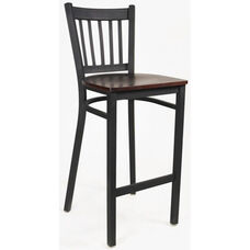 Cobra Series Armless Barstool with Steel Frame and Wood Seat