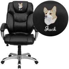 Embroidered High Back Black LeatherSoft Layer Padded Executive Ergonomic Office Chair with Silver Nylon Base and Arms