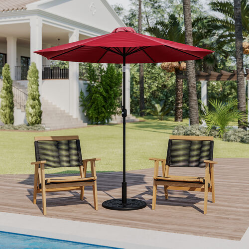 """Red 9 FT Round Umbrella with 1.5"""" Diameter Aluminum Pole with Crank and Tilt Function"""