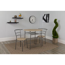 Soho 3 Piece Space-Saver Natural Finish Bistro Table with Shelf and Chairs