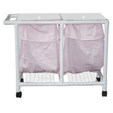 Leak-proof Double Bag Hamper with Mesh Bag and Casters - 22.5