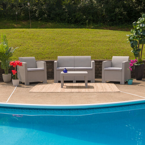 Our 4 Piece Outdoor Faux Rattan Chair, Loveseat and Table Set is on sale now.