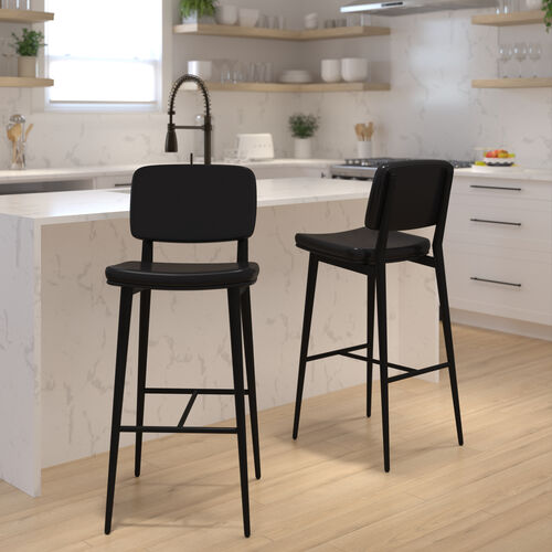 Kenzie Commercial Grade Mid-Back Barstools - Black LeatherSoft Upholstery - Black Iron Frame with Integrated Footrest - Set of 2