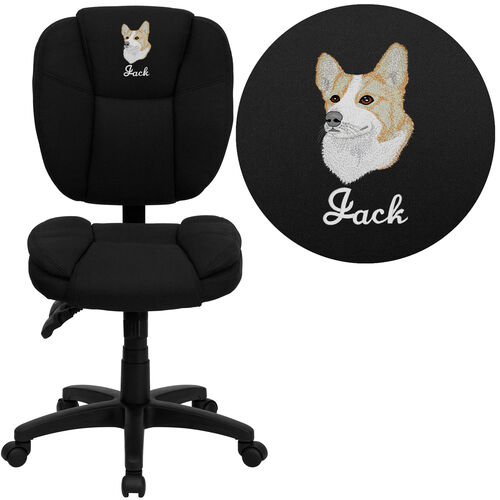 Embroidered Mid-Back Multifunction Swivel Ergonomic Task Office Chair with Pillow Top Cushioning