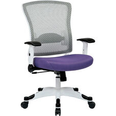 Space Pulsar Managers Office Chair with Mesh Padded Seat - Purple with White Frame
