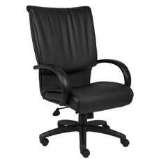 High Back LeatherPLUS Executive Chair with Padded Chrome Armrests and Spring Tilt Control - Black