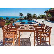 Malibu Outdoor 5 Piece Wood Dining Set with Table and 4 Herringbone Back Armchairs