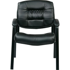 Work Smart Bonded Leather Executive Visitors Chair with Steel Base and Padded Arms - Black