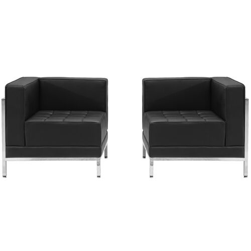 HERCULES Imagination Series Black LeatherSoft 2 Piece Corner Chair Set