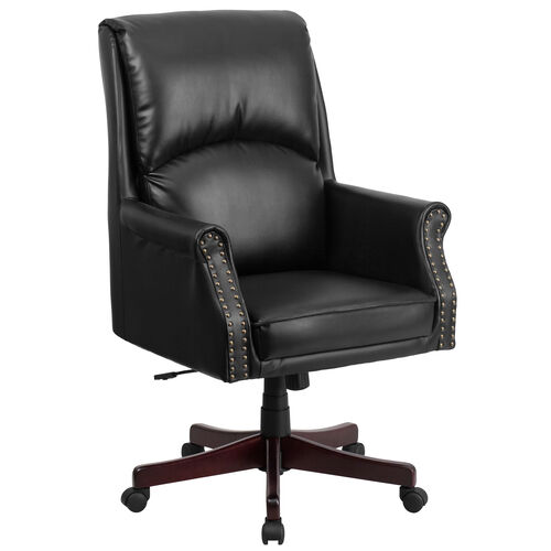 Our High Back Pillow Back Black LeatherSoft Executive Swivel Office Chair with Arms is on sale now.