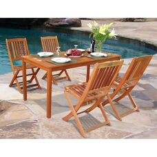 Malibu Outdoor 5 Piece Wood Dining Set with Table and 4 Folding Chairs