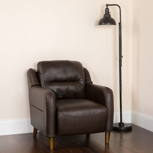 Our Newton Hill Upholstered Bustle Back Arm Chair in Brown LeatherSoft is on sale now.