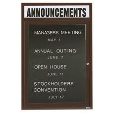 1 Door Outdoor Enclosed Directory Board with Header and Bronze Anodized Aluminum Frame - 24