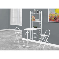 Space Saving 3 Piece Dining Set with Fold Away Table and 2 Stools - White